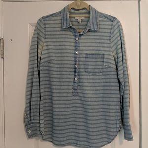J.Crew Chambray Striped Popover Buttondown Shirt